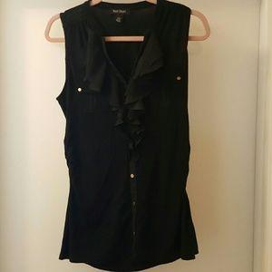 Black ruffled White House Black Market blouse